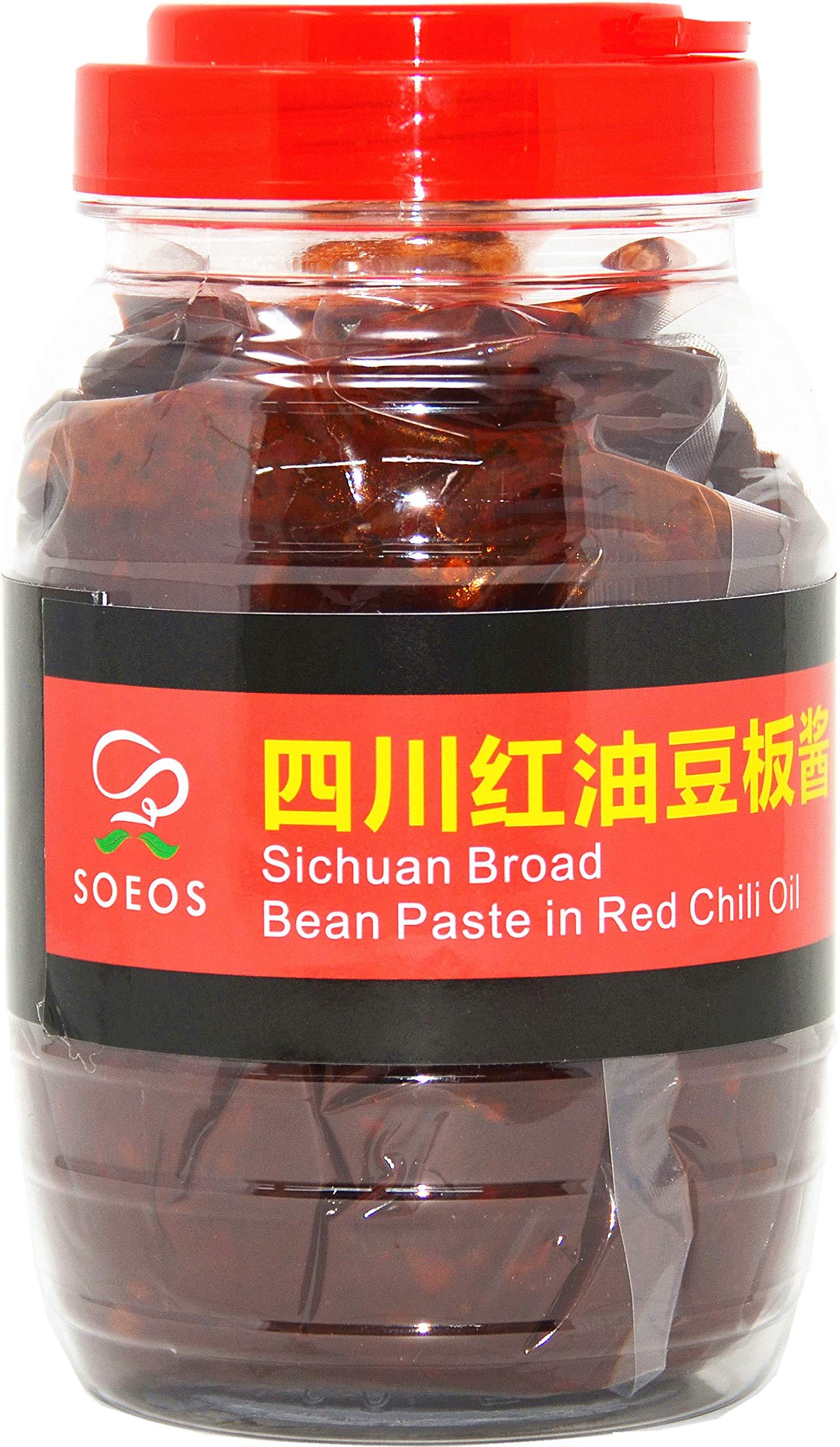 SOEOS Sichuan Pixian Broad Bean Paste with Chili Oil - 28.22oz (800g), Hongyou Doubanjiang with Red Chili Oil, Pixian Doubanjiang Chili Paste in Red Chili Oil.