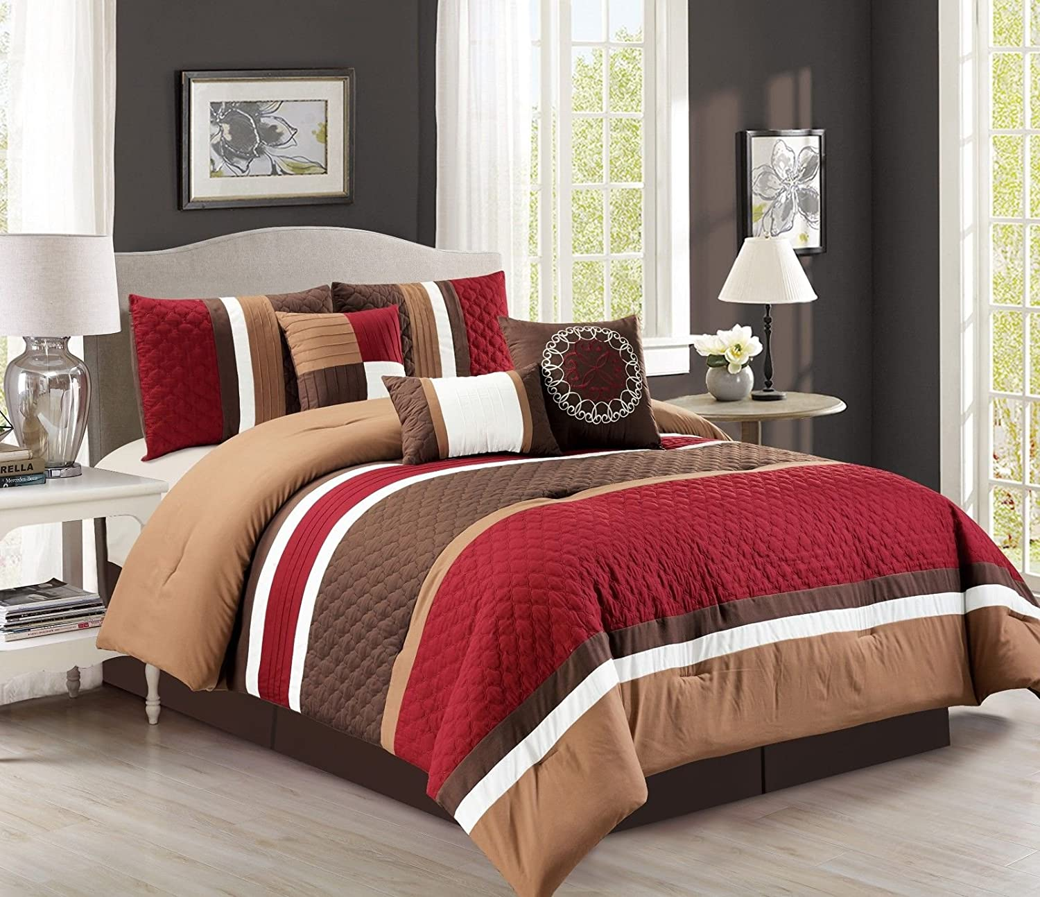 Chezmoi Collection Boston 7-piece Pinsonic Quilted Trellis Quatrefoil Design Striped Pleated Bedding Comforter Set Queen, Burgundy Red