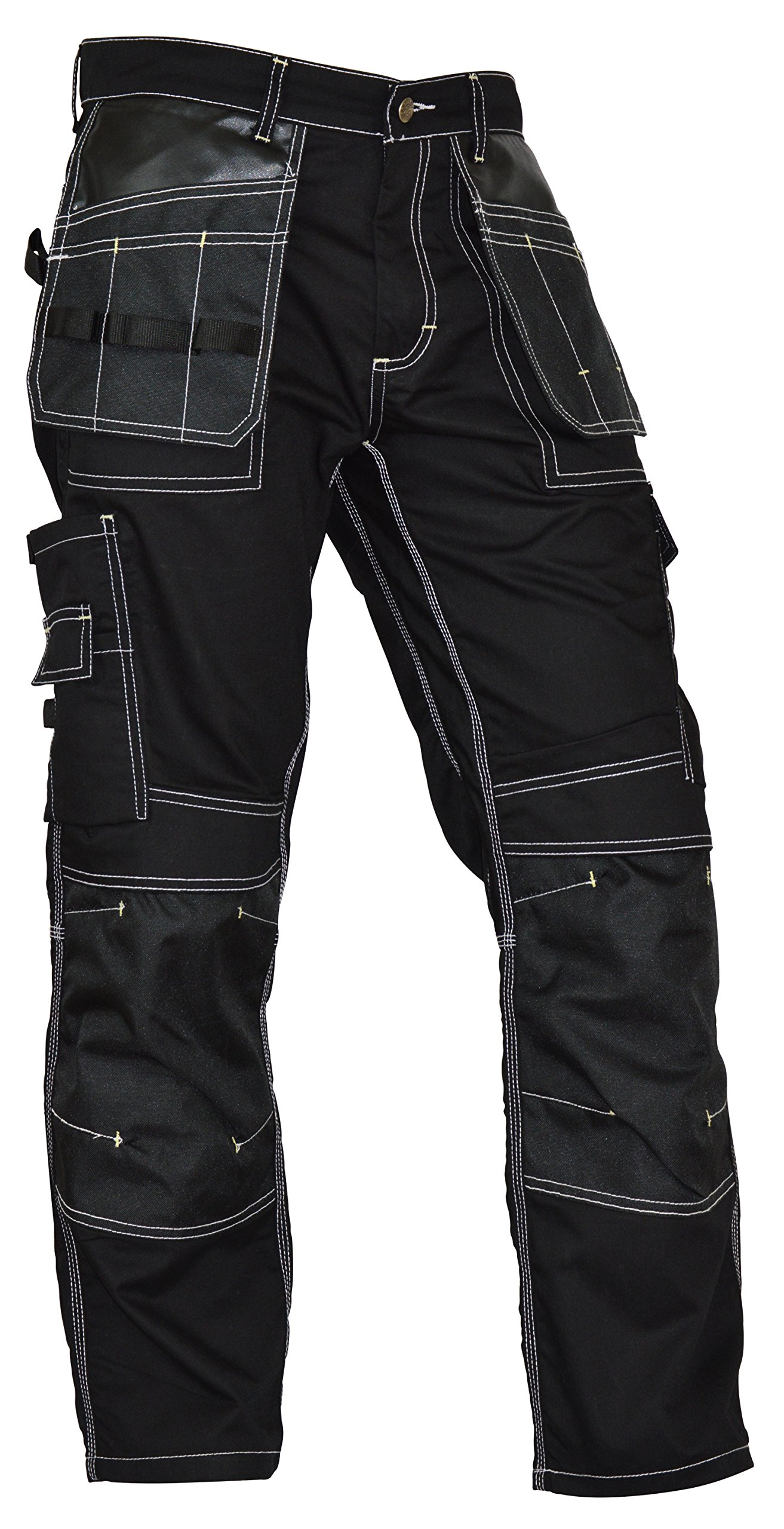 Fashio Mens Utility Workwear Pants Cordura Knee Reinforcement Trousers Black W36-L32
