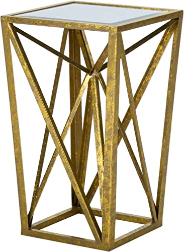Madison Park Zee Accent Tables For Living Room, Glass Top Hollow, Small Metal Frame Geometric Angular Design Luxe Modern Stylish Nightstand Bedroom Furniture, Gold