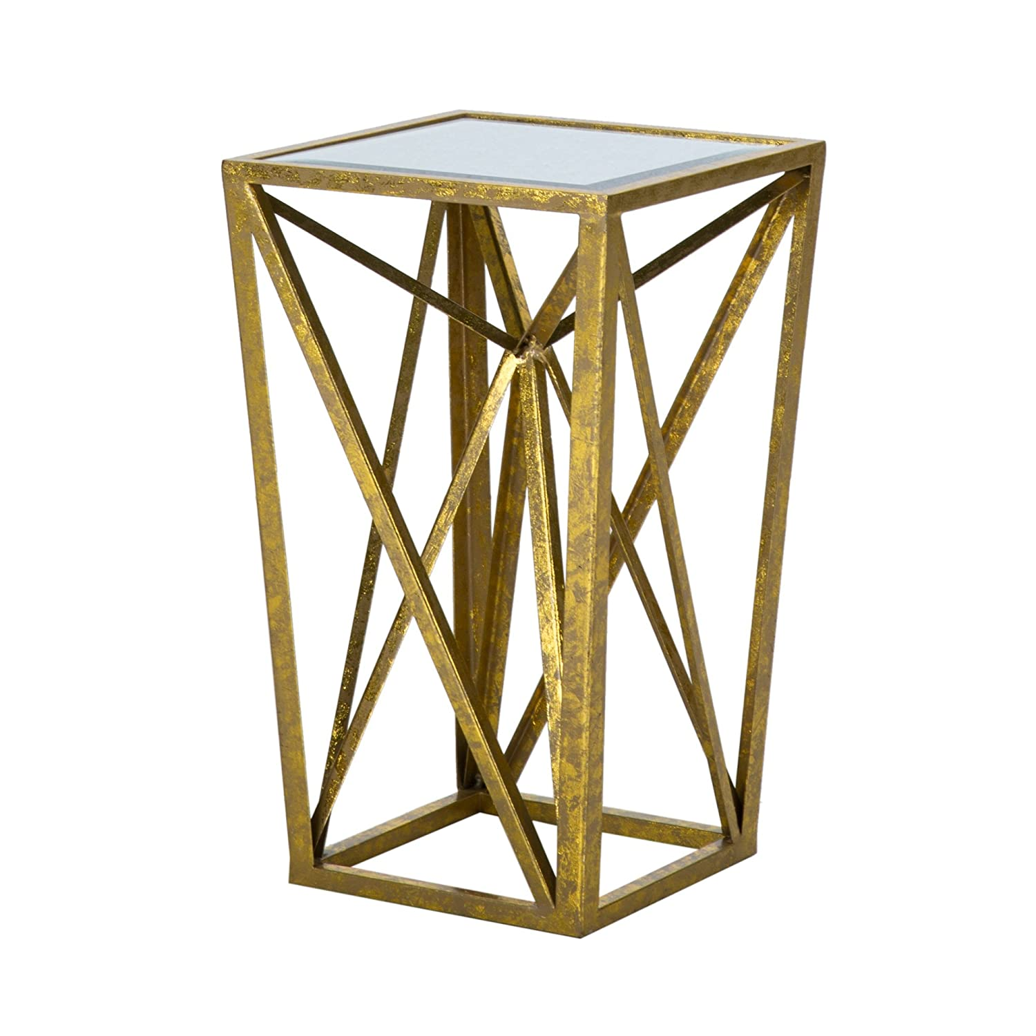 Madison park zee accent tables mirror glass metal side table gold angular design modern style end tables 1 piece glass top hollow round small