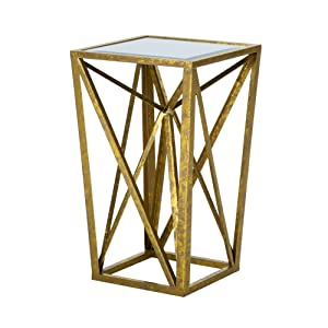 Madison Park Zee Accent Tables - Mirror Glass, Metal Side Table - Gold, Angular Design, Modern Style End Tables - 1 Piece Glass Top Hollow Round Small Tables For Living Room
