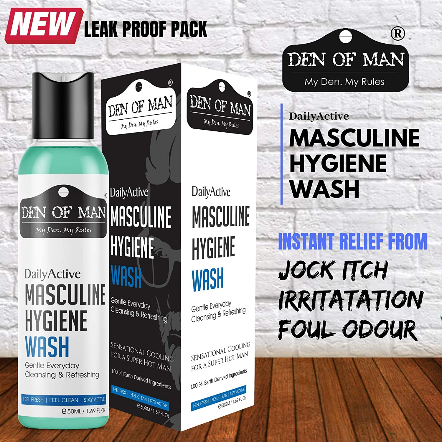 Den of Man DailyActive Masculine Hygiene Wash, 50g