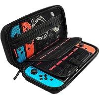 [Nintendo Switch対応] Nintendo Switch専用の保護ケース, 任天堂スイッチ用のキャリングケース,外出や旅行用収納バッグ,ナイロン素材 防塵、防汚、耐衝撃,20個カート/ケーブル/イヤホンなど小物収納可(ブラック)
