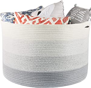 """Muchuni Extra Large Cotton Rope Basket 21.7"""" x 13.8"""". Storage Hamper for Blankets, Pillows, Toys or Laundry. Living Room Blanket Basket."""
