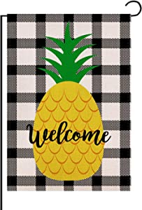 FLCHWY Hello Summer Welcome Pineapple Garden Flag Vertical Double Sided 12.5 X 18 Inch,Buffalo Check Plaid Rustic Burlap Outdoor Farmhouse Seasonal Holiday Décor