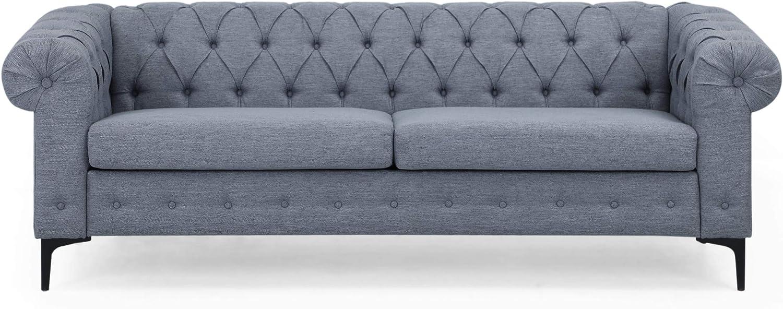 Christopher Knight Home Nina Fabric 3 Seater Sofa, Charcoal, Black