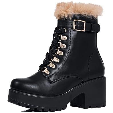 371076f60d91 Platform Block Heel Ankle Boots Shoes Black Leather Style Sz 3