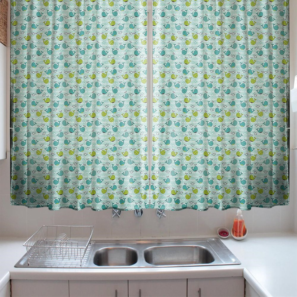 oFloral Kitchen Curtains Whale Animals of Lime Green Turquoise Pale Sea Green Window Treatments for Kitchen Dining Room Curtains 2 Panels Set 55 W X 39 L Inches