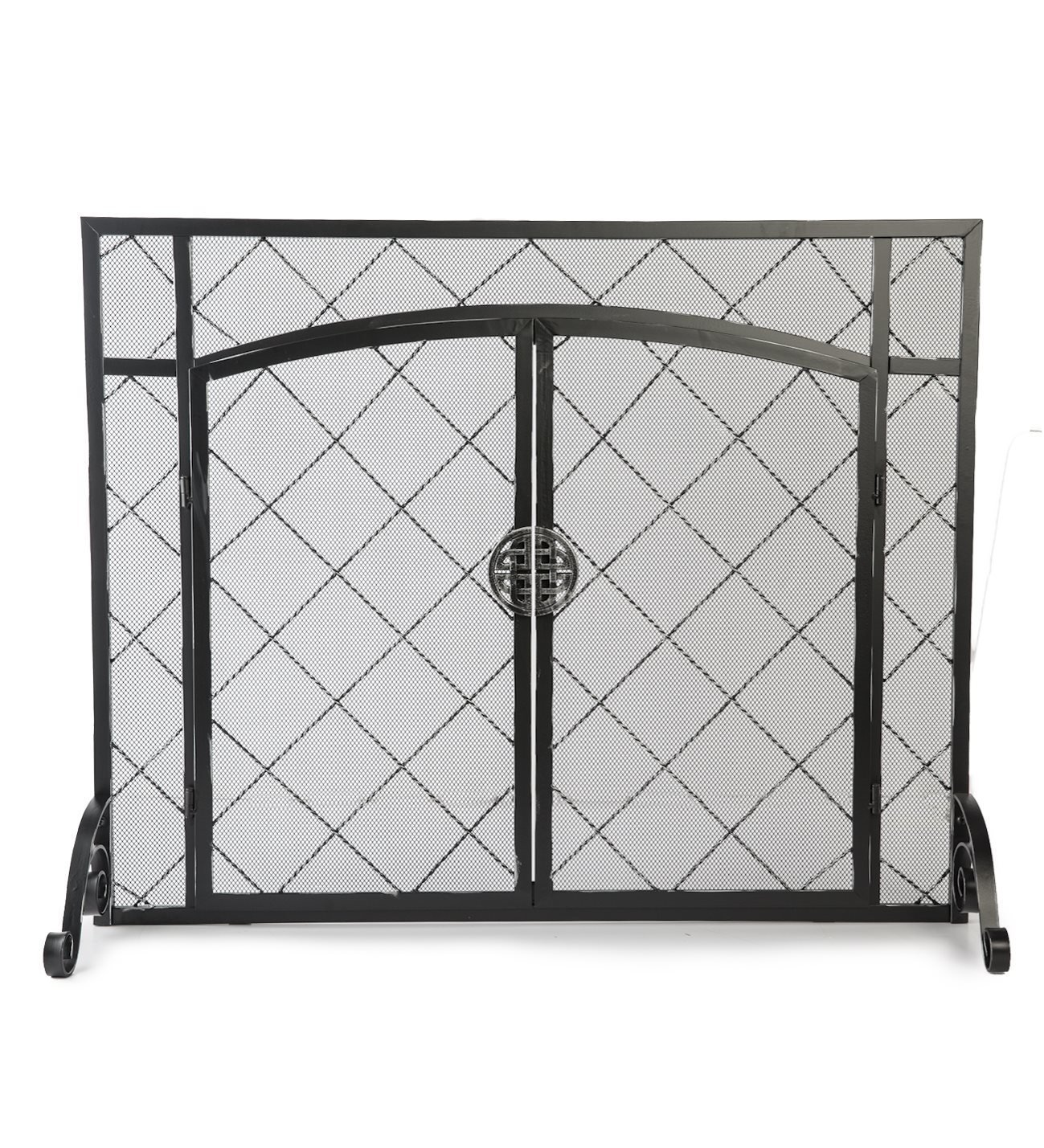 Celtic Knot Large Fireplace Screen with Hinged Doors, Powder Coated Steel Frame, Metal Mesh, Decorative Design, Free Standing Spark Guard- 44 W x 33 H Black by Plow & Hearth