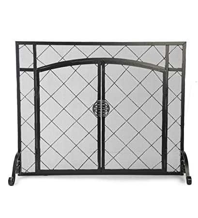 metal large spark amazon powder guard screen fireplace hinged mesh coated standing doors com steel knot bhctl celtic decorative dp frame with