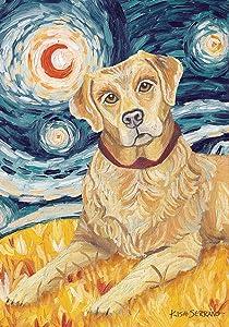 Toland Home Garden Van Growl Yellow Lab 28 x 40 Inch Decorative Puppy Dog Portrait Starry Night House Flag