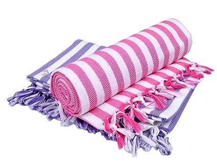 Sathiyas Supreme Turkish Cotton Bath Towel-2pcs Combo (Lavender || Pink)