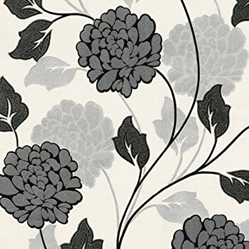 Flower Floral Stems Leaf Textured Metallic Glitter Silver White Black Wallpaper Amazoncouk Kitchen Home