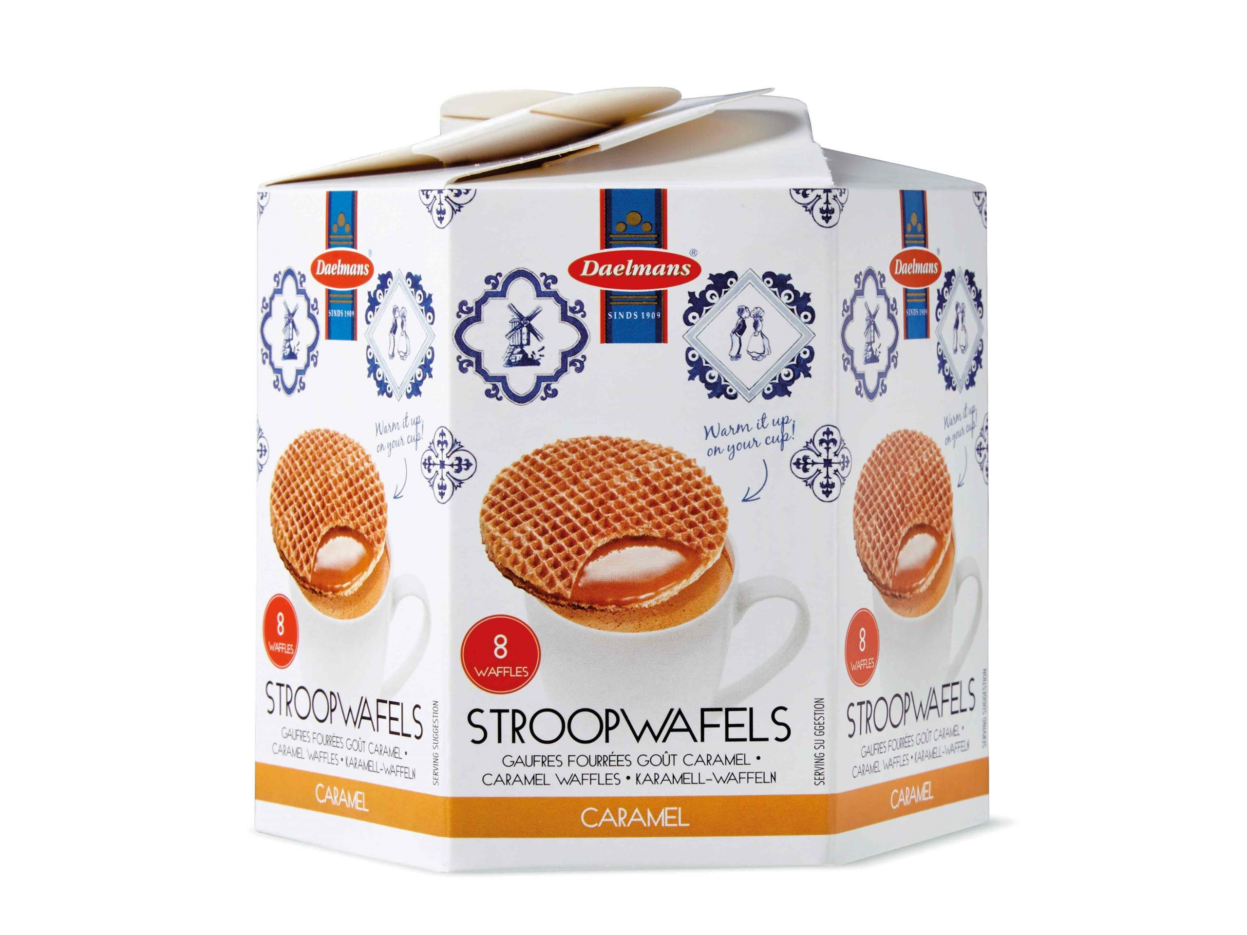 DAELMANS Stroopwafels, Dutch Waffles Soft Toasted, 4 Pack Assortment, Caramel, Office Snack, Kosher Dairy, Authentic Made In Holland, 8 Stroopwafels Per Box (4 Pack)