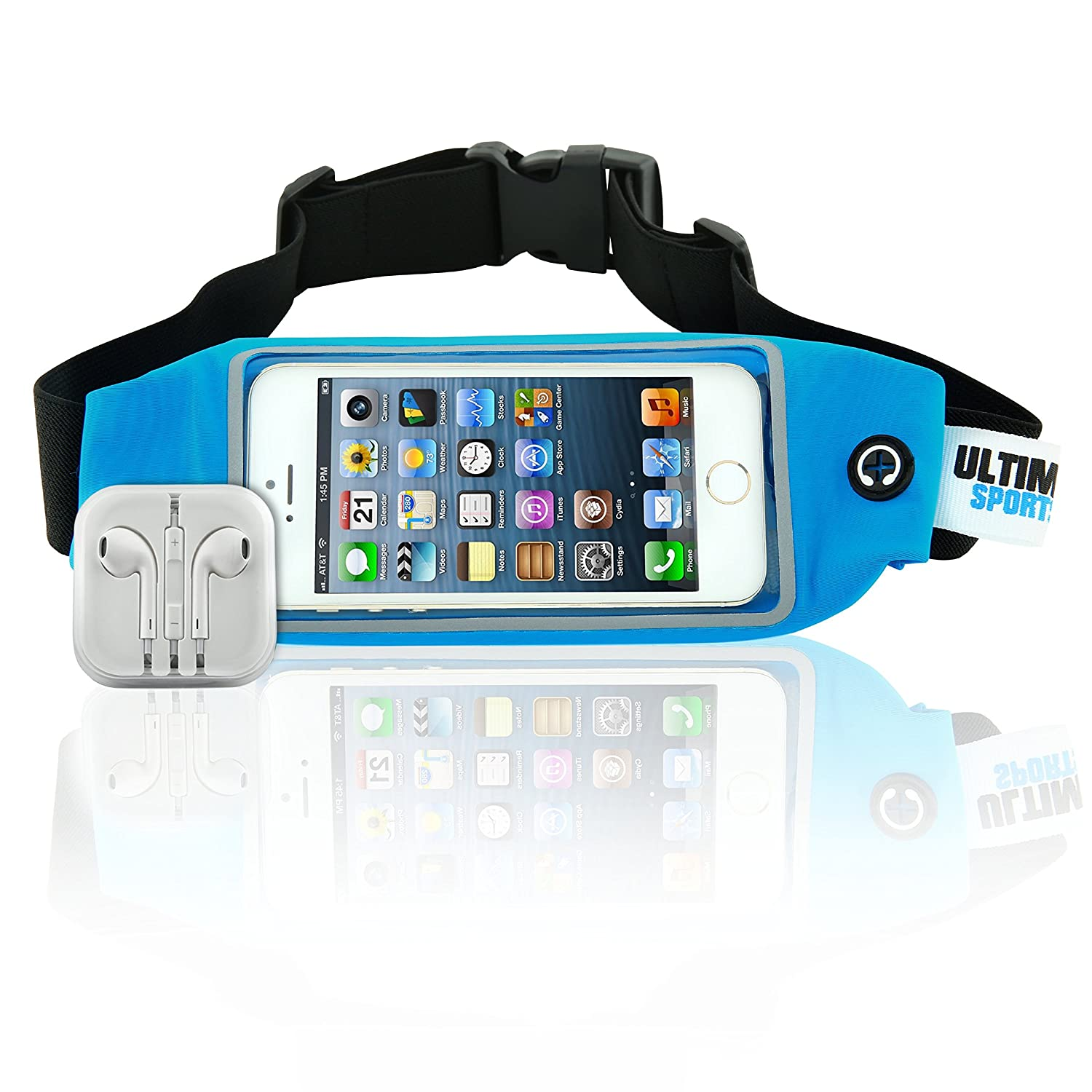 Ultimate Sports Pro Running Belt Waist Pack with Free Earbuds – Blue 4.7 Inches
