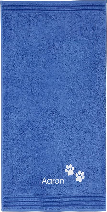 Erwin Müller Toalla con bordado con bordado diseño de huellas y nombre, azul, 50