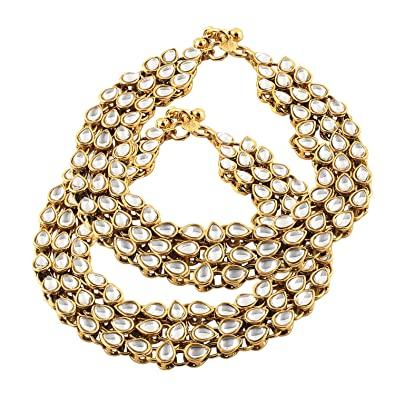 Reasonable Indian Wedding Bridal Gold Plated Ethnic Rhinestone Pearl Payal Anklets Jewelry Anklets