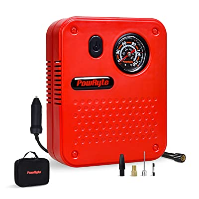 PowRyte Works Dial Tire Inflator - 12-Volt Portable Auto Air Compressor with Precise Pressure Gauge: Automotive
