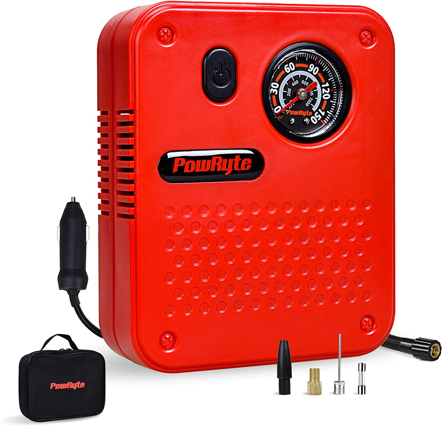 PowRyte Works Dial Tire Inflator - 12-Volt Portable Auto Air Compressor with Precise Pressure Gauge