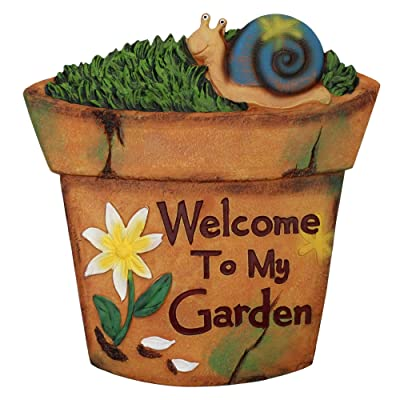 "Napco 10.5"" Brown Flower Pot Outdoor Garden Stepping Stone with Snail : Garden & Outdoor"