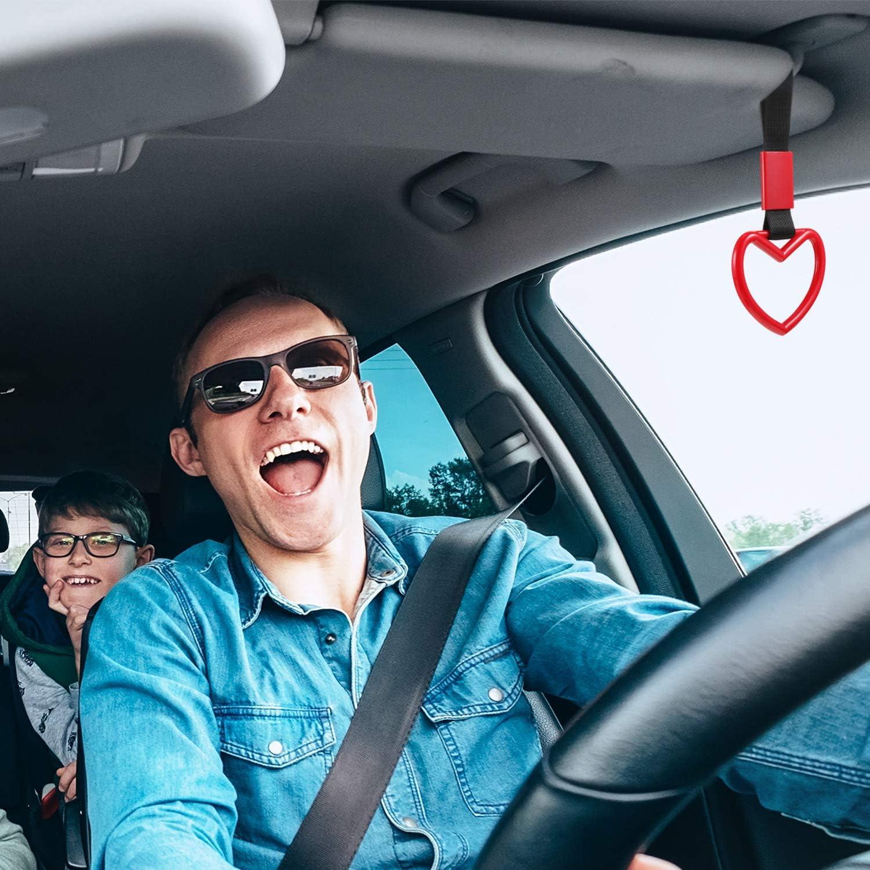4 Pieces Tsurikawa Ring Heart-Shaped Car Hand Strap Decorative Warning Loops Rear Bumper Warning Ring for Car Interior Exterior Decoration White