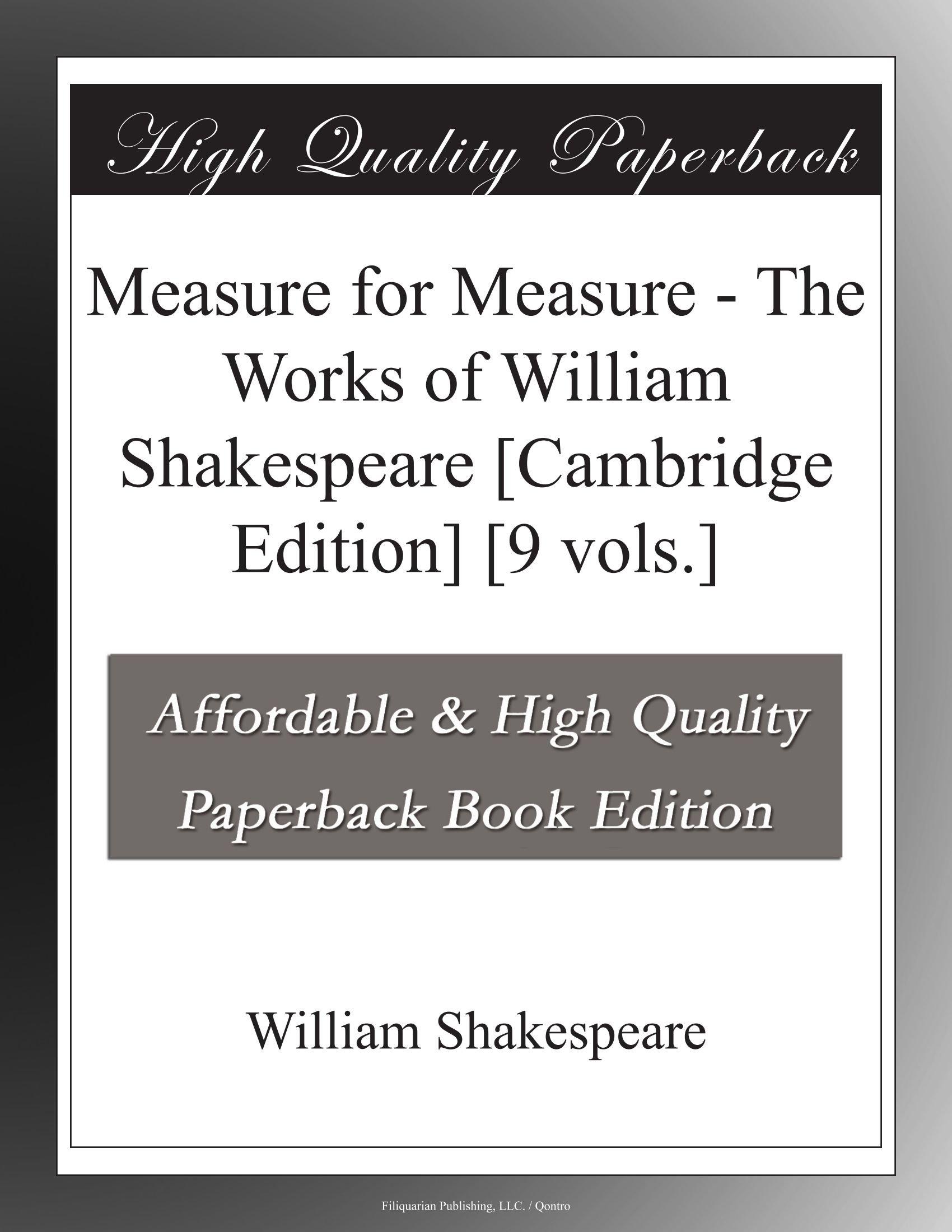Measure for Measure - The Works of William Shakespeare [Cambridge Edition]  [9 vols.]: William Shakespeare: Amazon.com: Books