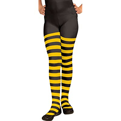 Forum Novelties Bumble Bee Striped Costume Tights, Child Large: Toys & Games