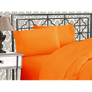 Elegant Comfort 1500 Thread Count Wrinkle & Fade Resistant Egyptian Quality Ultra Soft Luxurious 5-Piece Bed Sheet Set with Deep Pockets, Split King Elite Orange