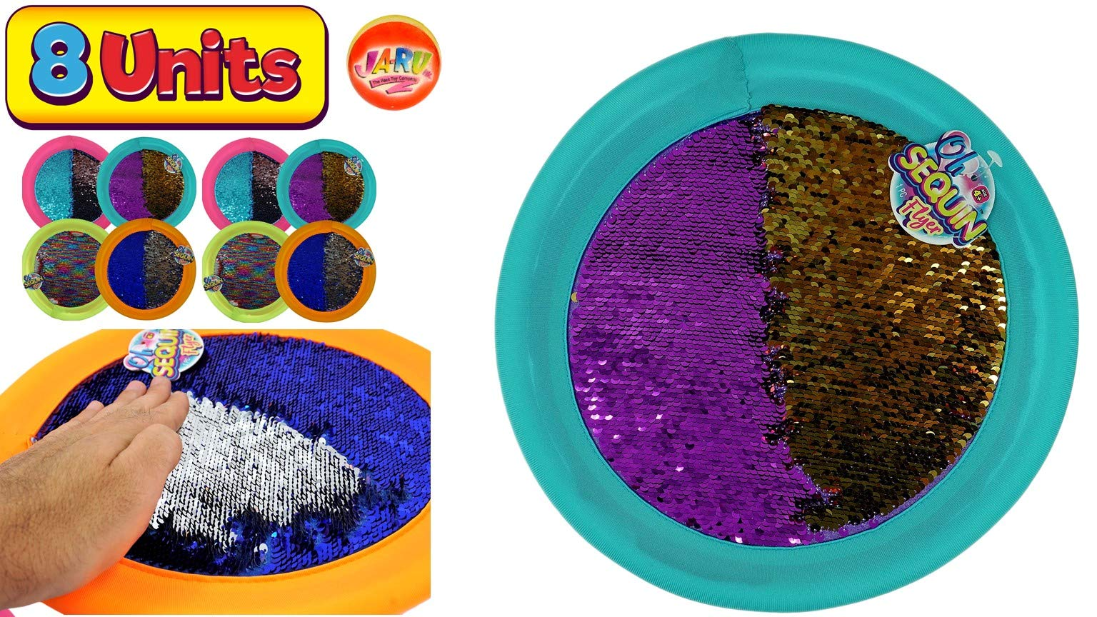 JA-RU Soft Flying Disc Wet or Dry Safe 11'' (8 Pack) Frisbees with Sequin Shimmery Material, Kids & Adults Toys Games for Beach Lake Pool Playground & Outdoors Party. Plus 1 Bouncy Ball. 4637-8P by JA-RU