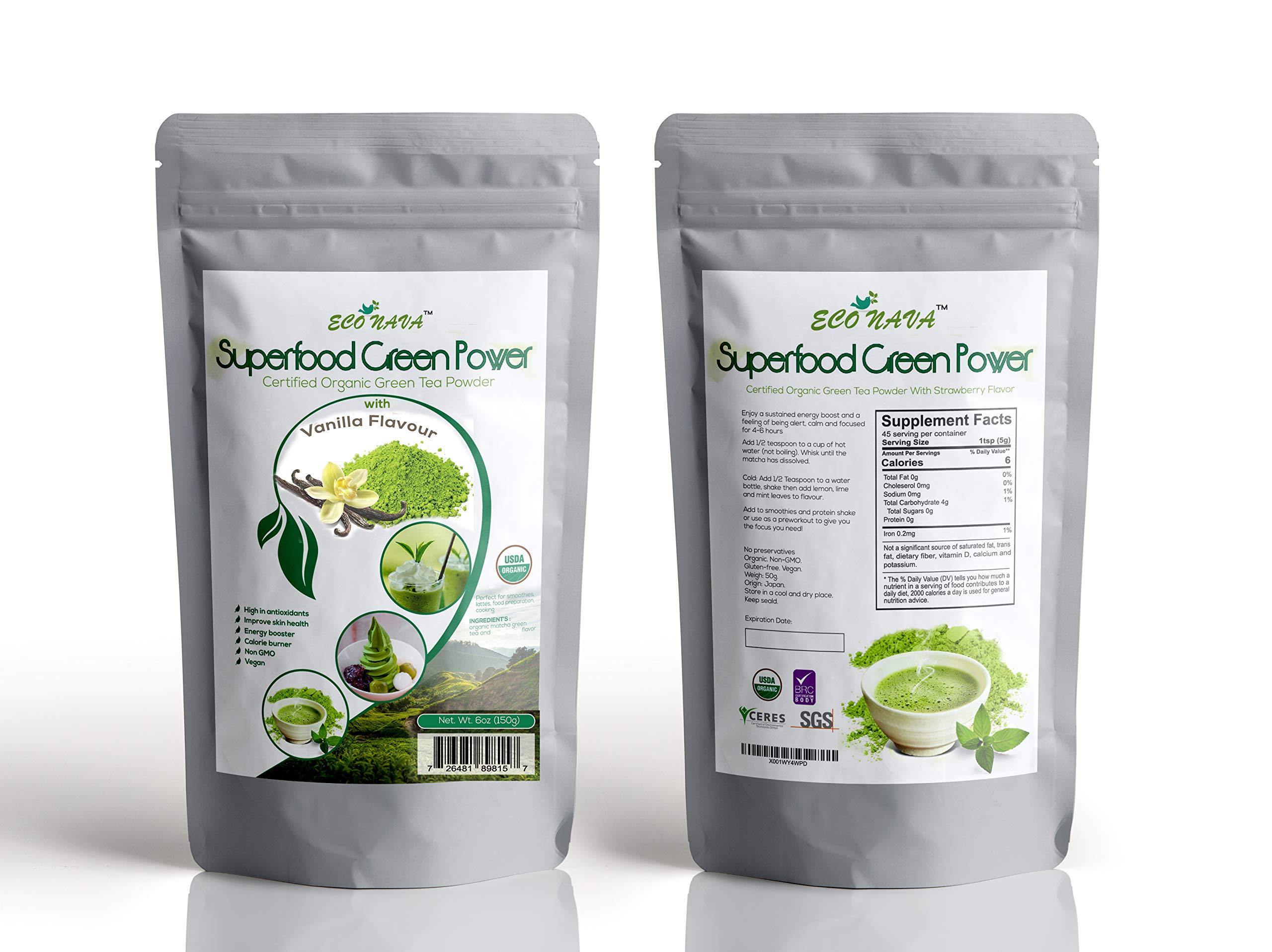 Certified 100% Natural Japanese Vanilla Matcha Green Tea Powder 150g Bag