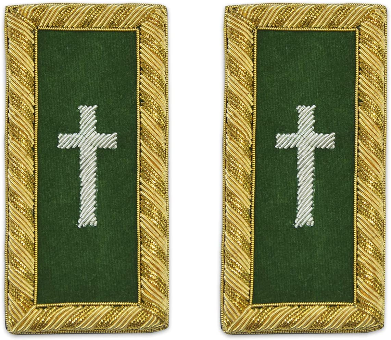 Parche bordado con cruz verde y dorado de los caballeros del Templario Commander de Masonic – 10,16 cm de alto ...