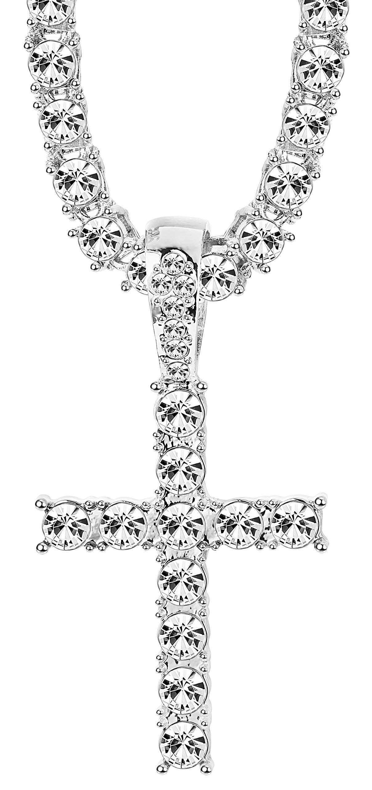 LOYALLOOK Iced Out Chains for Men 18K Plated Necklace Hip Pop Chain Cross Pendant Tennis Chain Silver 22''