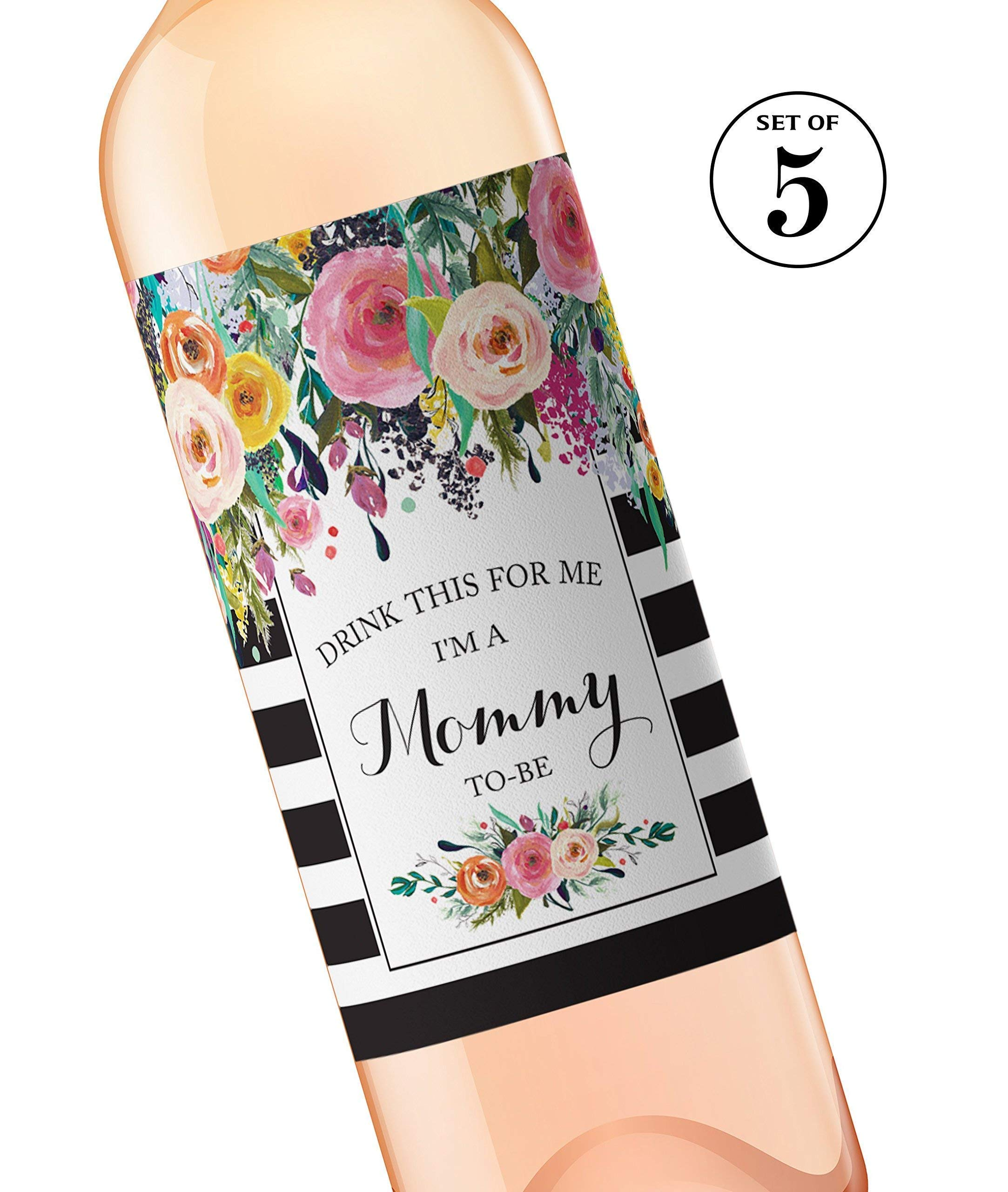 Drink This For Me - I'm a Mommy-To-Be Wine Labels ● SET of 5 ● GENDER NEUTRAL Pregnancy Announcement Wine Labels, Pregnancy Reveal, Alternative to Baby Announcement Cards, WEATHERPROOF, Black A104-5M1