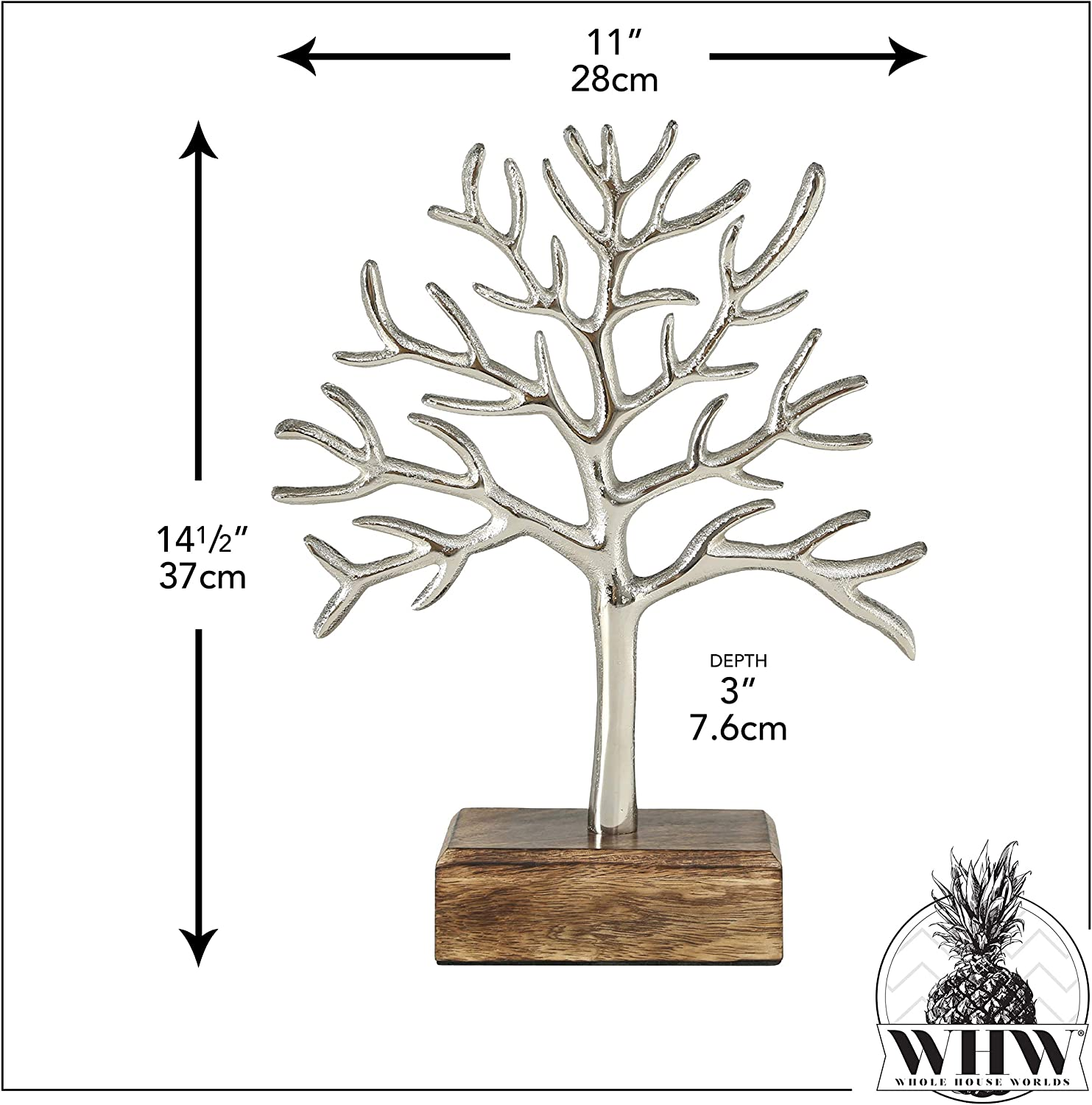 14.5 Inches WHW Whole House Worlds Cast Metal Tree of Life Abstract Sculpture Solid Wood Gallery Base Free Standing Silver Aluminum