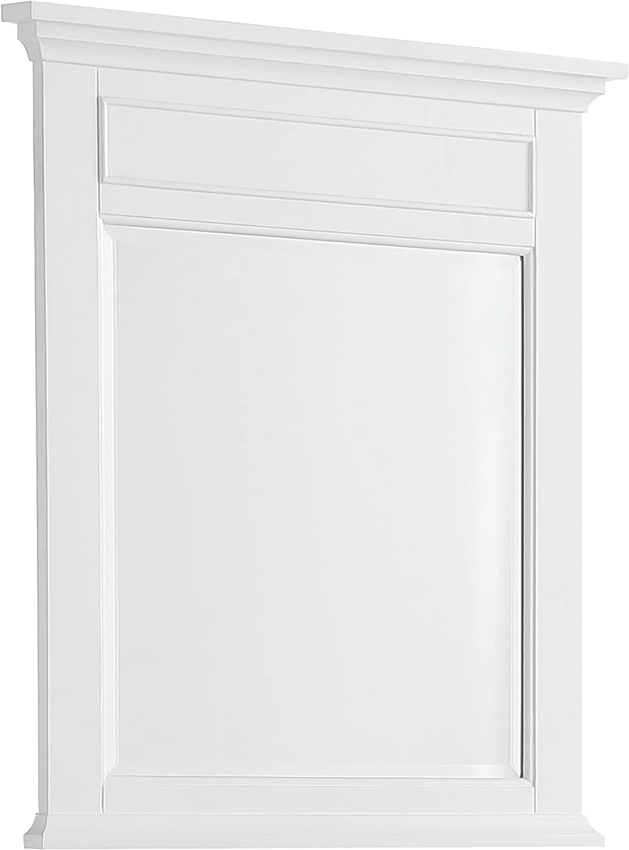 SIMPLIHOME Evan 30 inch x 34 inch Bath Vanity Décor Mirror in White