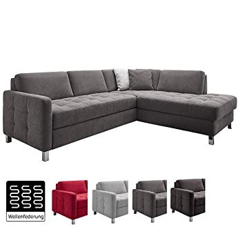 Cavadore Sofa Paolo Mit Gesteppter Sitzfläche Graues Ecksofa Mit Wellenunterfederung Modernes Design 233 X 80 X 196 Grau