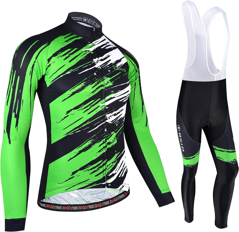 Maglia da Ciclismo Invernale Termica Manica Lunga con Pantaloni con Bretelle da Uomo