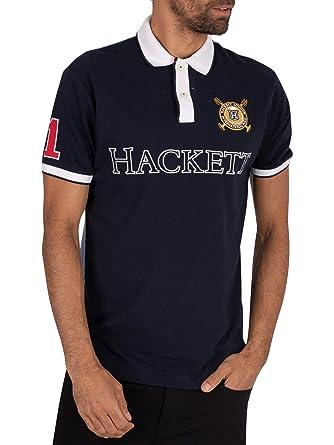 Hackett London de los Hombres Logo Polo, Azul: Amazon.es: Ropa y ...