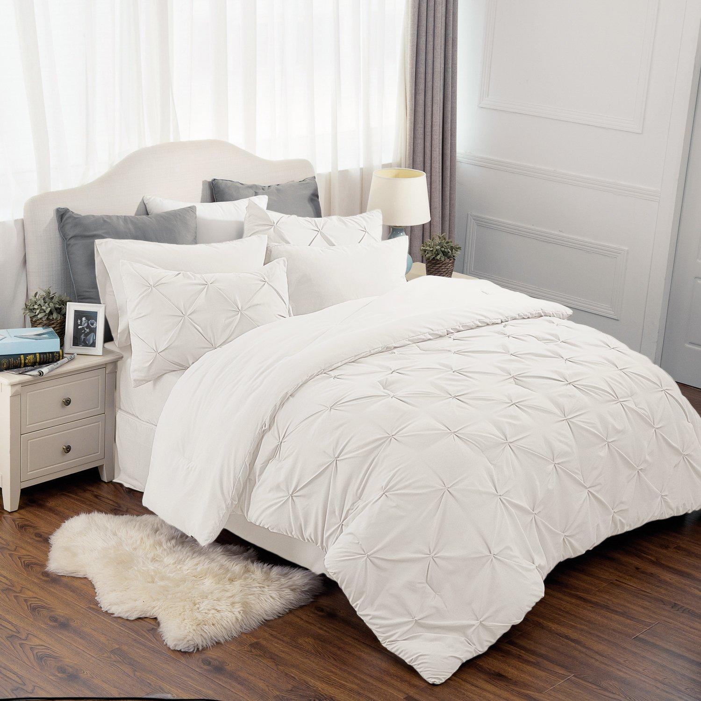Bedsure 6 Piece Comforter Set Ivory Twin Size (68''X88'') Pinch Pleat Down Alternative BED IN A BAG (Comforter,Pillowsham, Flat Sheet, Fitted Sheet, Bed Skirt,Pillowcase) by Bedsure