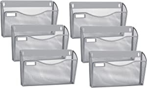 Samstar 6 Pack Mesh Wall Mounted File Holder Metal Wall File Pocket Organizer, Sliver
