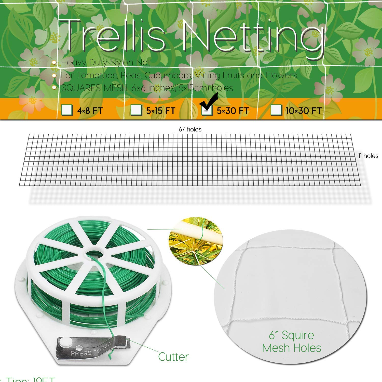 BoHoFarm Plant Trellis Netting 5x30ft 2-Pack Trellis Net Heavy-Duty Polyester Plant Support Vine Climbing Hydroponics with//Garden Twine