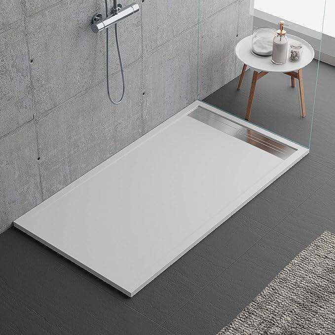 Plato de ducha blanco, diseño moderno, modelo Malaga, de mármol y resina con efecto piedra pizarra, luxury, gelcoat, slim 3 cm, blanco: Amazon.es: Bricolaje y herramientas