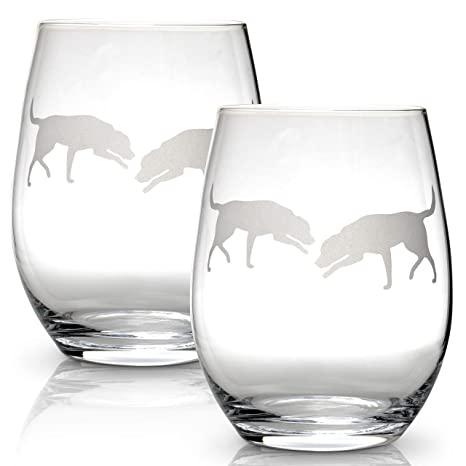 eb0ca7a63de Amazon.com | Labrador Retriever Stemless Wine Glasses (Set of 2 ...