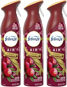 Febreze Air - Air Freshener Spray - Fresh-Twist Cranberry - Limited Edition Holiday Collection 2020 - Net Wt. 8.8 OZ (250 g) Per Bottle - Pack of 3 Bottles