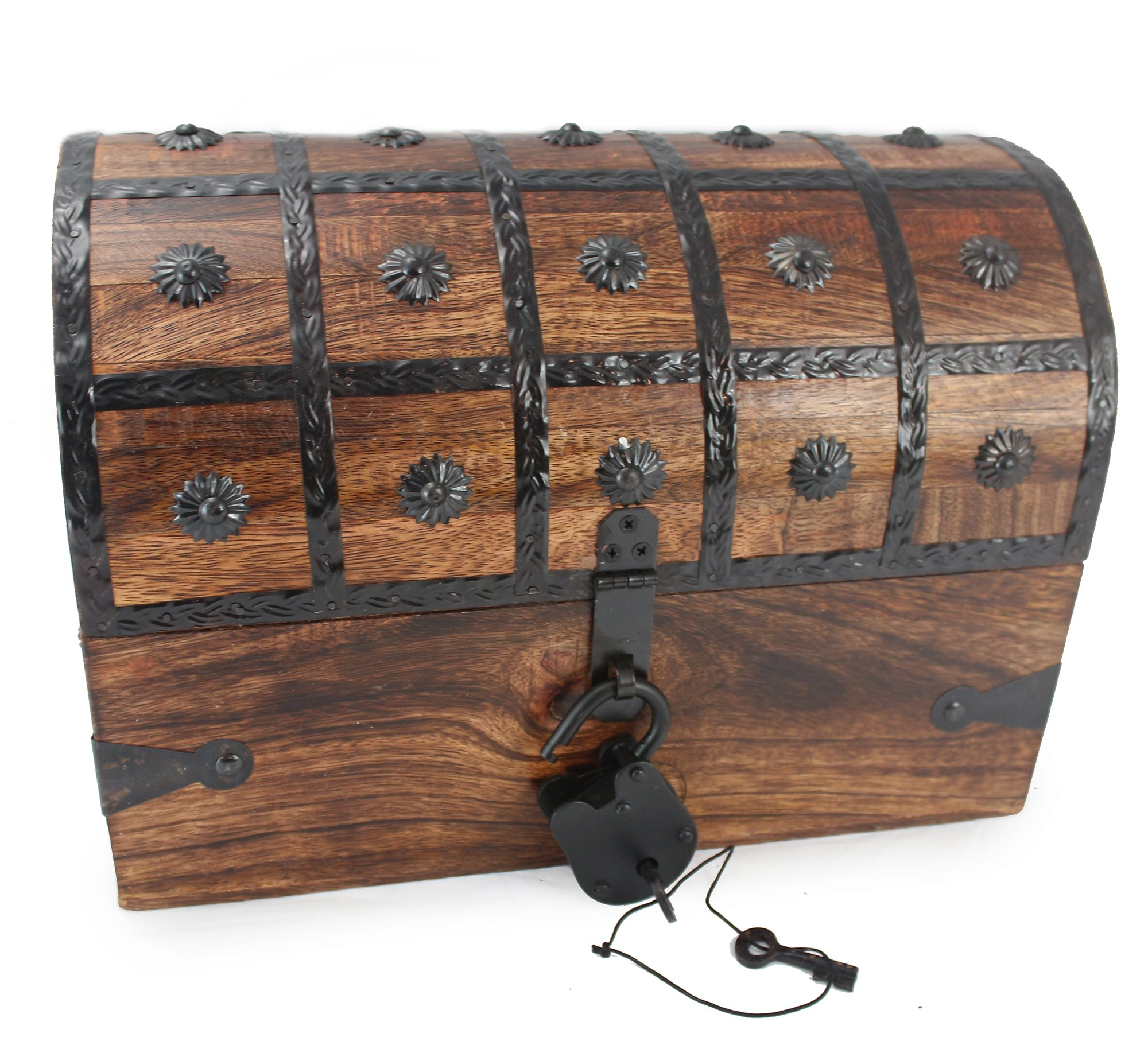 """Well Pack Box Wooden Pirate Treasure Chest Box 14"""" x 9"""" x 8"""" Calico Jack Model Authentic Antique Style Wooden Pirate Treasure Chest Box With Black Hasp Latch Includes Master Padlock & Vintage Skeleto"""