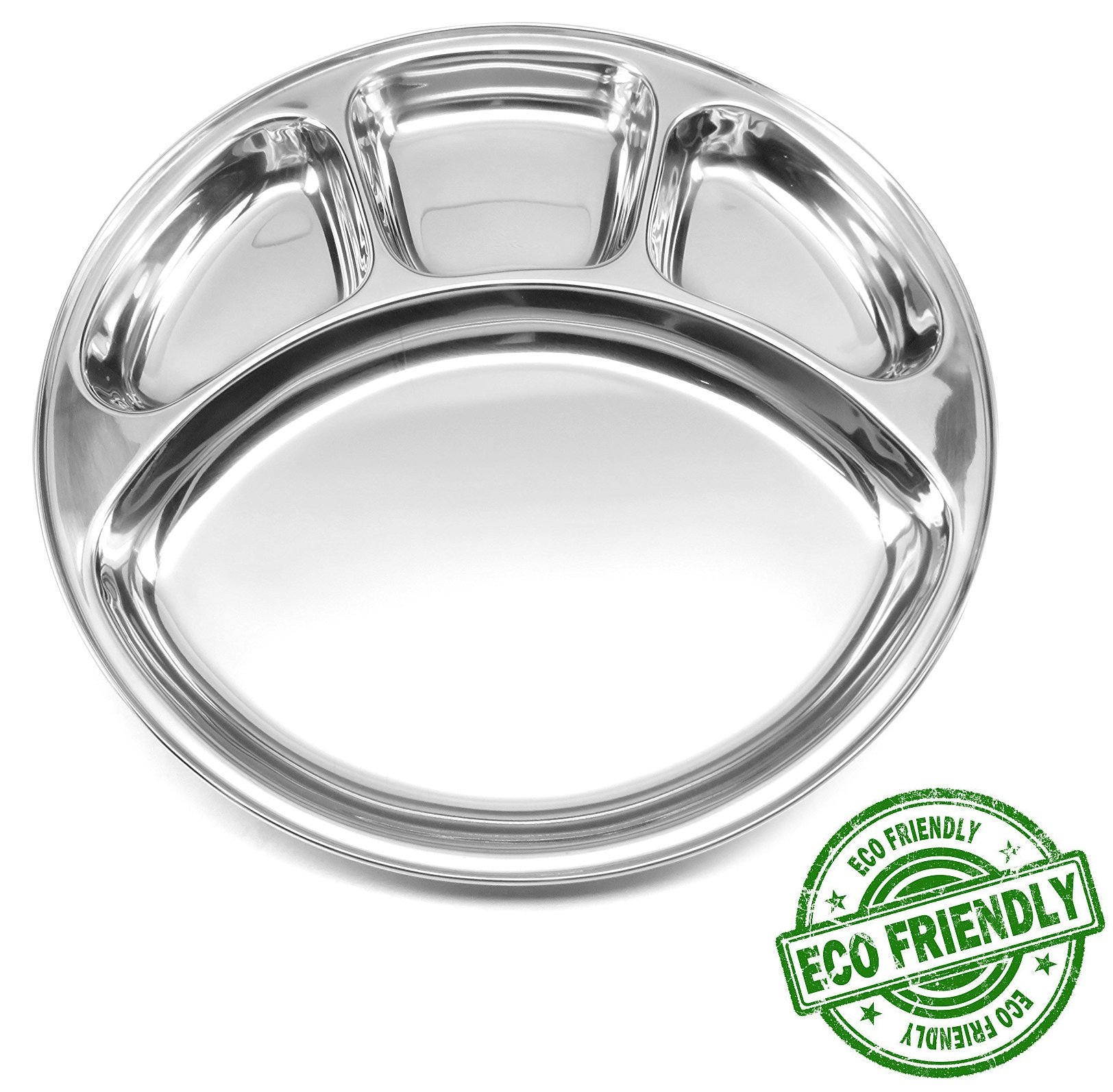 Lifestyle Block Stainless Steel Divided Plate: 4 Section Mirrored Round Plate for use as Plate or Platter - Small
