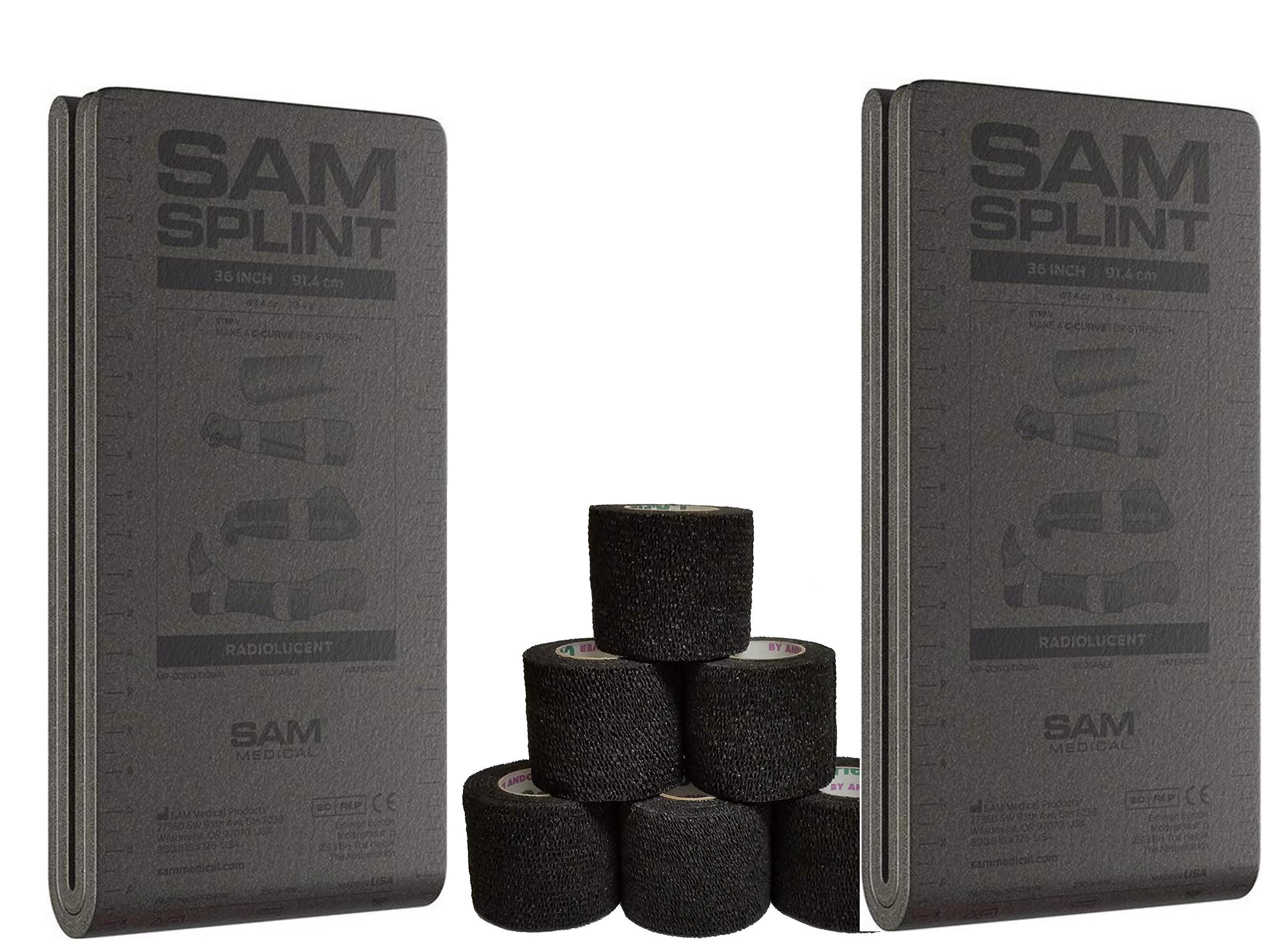 36'' SAM Splint Plus 2'' Cohesive Co-Flex Wrap Combo Kit (2 Gray Splint/4 Wraps, Black Wrap)