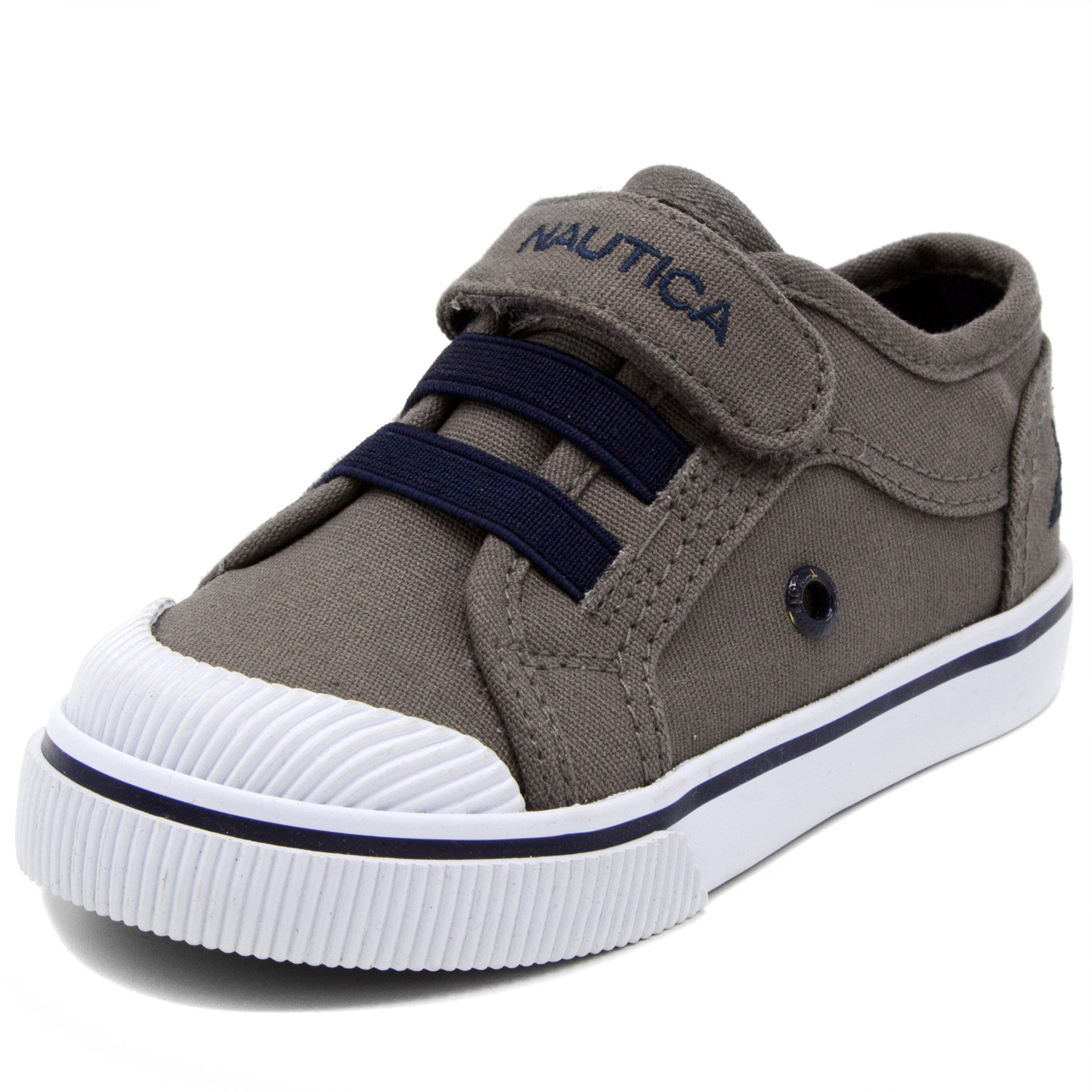 Nautica Kids Calloway Canvas Sneakers Velcro Bungee Straps Casual Shoes-Grey/Navy-10