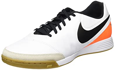 cab27d2fbf24 Nike Tiempo Genio II Leather IC Men s White Black-Total Orange Shoes - 7